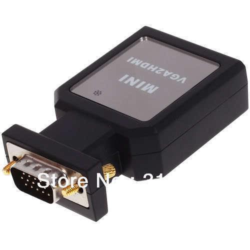 Free Shipping VGA Male +Audio to HDMI +Mini VGA TO HDMI Video Converter Adapter / 1080P / USB Power