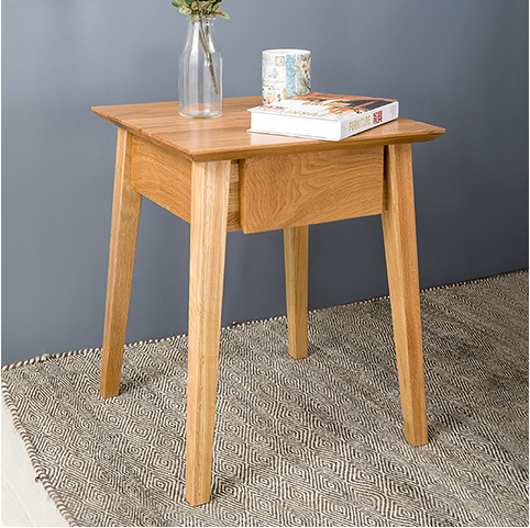 Square solid wood table /white oak side table/with drawer /small tea table(China (Mainland))