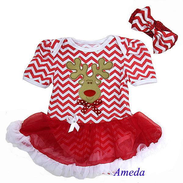 2 Piece Set - Baby Christmas Reindeer Bow Red Chevron Pettiskirt Bodysuit and Headband 0-18M(Hong Kong)