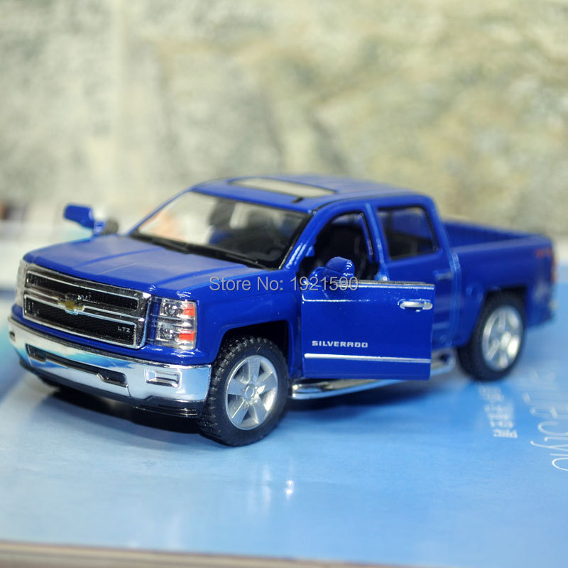 10pcs/pack Wholesale Brand New KINGSMART 1/46 Scale Chevrolet Silverado Pickup Truck Diecast Metal Pull Back Car Model Toy(China (Mainland))