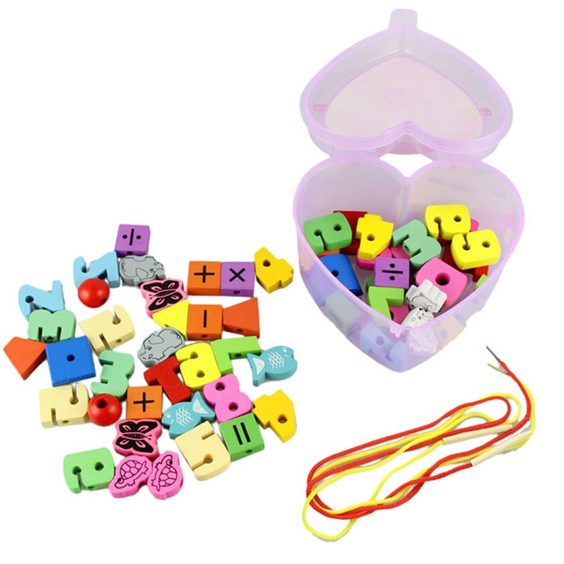Best seller Free Shipping Wooden Toys Stringing Game Child Toy Heart Shaped Beads Mixed Animals Fruit Gift Mar7(China (Mainland))