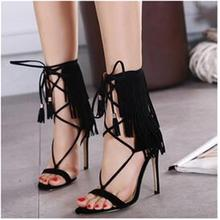 2016 New Fashion Valentine Pumps Whims Tassels Cross Straps Roman Style High Heels Stiletto Shoes Gladiator Sandals