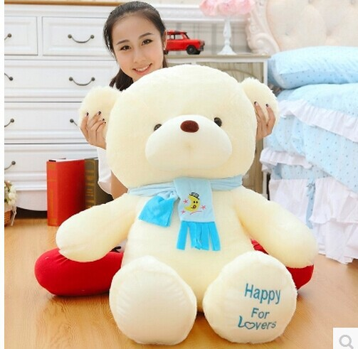 stuffed animal about 39 inch teddy bear  happy  for lovers scarf bear plush toy ,throw pillow , Christmas gift b0795<br><br>Aliexpress