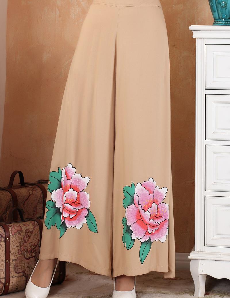 Novelty Camel Chinese Women Cotton Pants Classy Loose Wide Leg Trousers Elastic Waist Pants Flower M L XL XXL 2369-3Одежда и ак�е��уары<br><br><br>Aliexpress