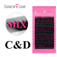 Buy Size C D Curl mixed Individual Mink Eyelash Extension Soft Black Fake False Eye Lashes Makeup Tool Freeshipping Arison lash for $3.54 in AliExpress store
