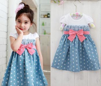 Girls Baby Kids Toddlers 1PCS Cowboy Blue Polka dot Bowknot Dress Clothes S1-6Y