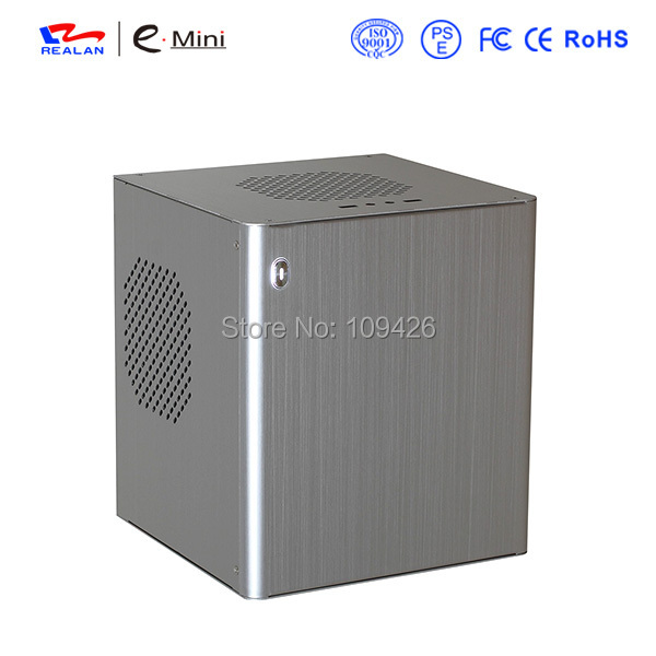 Realan D3 Silver Aluminum Mini ITX Case Without CPU, Support 2.5 HDD 3.5 HDD FAN WIFI COM PCI USB Audio Ports(China (Mainland))