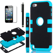 FOR iPod Touch 5th Gen -HARD & SOFT RUBBER HIGH IMPACT ARMOR CASE HYBRID COVER(China (Mainland))
