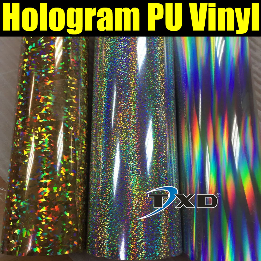 50CMX100CM High quality Hologram PU VINYL for fabric heat transfer with air free shipping(China (Mainland))