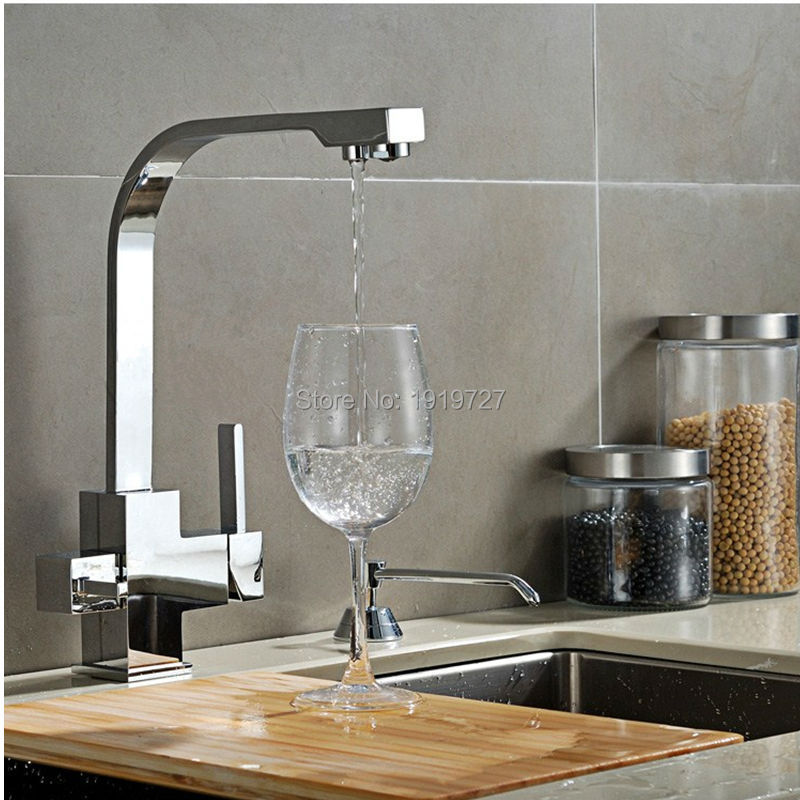 Polished Chrome Or Brushed Nickel Brass 3 Way 360 Swivel Kitchen Sink Faucet Mixer Tap Pure Water Filter(China (Mainland))