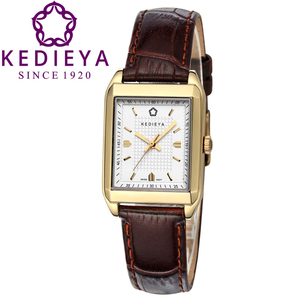 KEDIEYA Brown Leather Rectangle Ronda Movment Quartz Watch Water Resistant Ladies Dress Wrist Watches Gift<br><br>Aliexpress