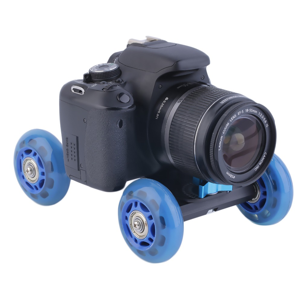 Stock Offer Blue 4-wheel Mute Rail Track Drift Car Skater Slider For DSLR Video Camera New Hot!(China (Mainland))