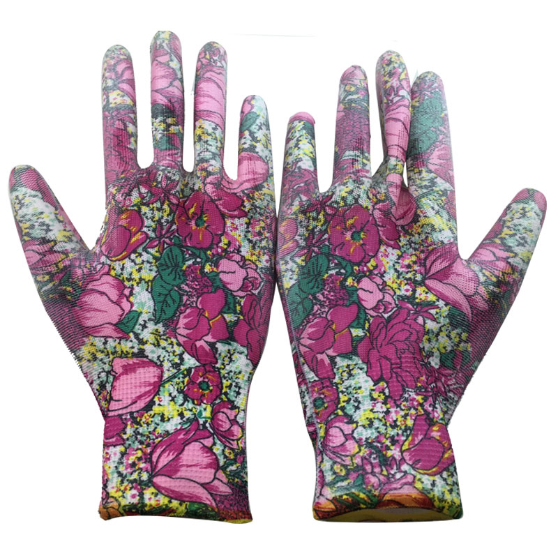NMSafety 6 pairs high quality 13 guage flower print polyeaster liner coated PU practical gloves,lady gardening gloves,Fashion<br><br>Aliexpress
