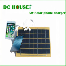 DC House High Speed Solar cell phone charger by 5w 5.5v solar panel emergency power bank camping(China (Mainland))