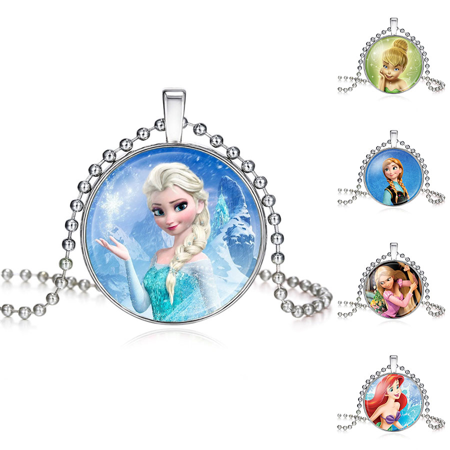 2017 New Fashion Ladies Long Chain Snow Queen Necklace Jewelry Glass Cabochon Princess Elsa Anna Necklace Pendant For Girls(China (Mainland))