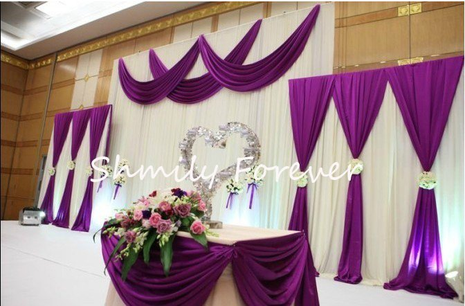 New popular 1 set 2small 1 big white purple backdrops for Backdrop decoration for wedding