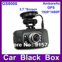 "Original GS8000 Car dvr 2.7"" LCD Ambarella full hd1920X1080P30fps with GPS G-Sensor Video recorder DVR free shipping"