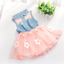 retail free shipping 2015 new summer girl dresses  flower printing cowboy cotton collect waist sleeveless dresses