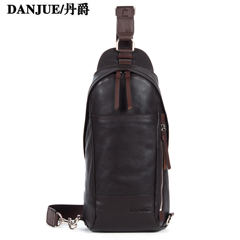 2015 Solid Zipper Real Messenger Bags Genuine Head Layer Cowhide Chest Pack Leisure Bag Shoulder Leather Men Outdoor Wholesale(China (Mainland))
