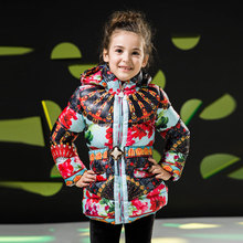 Girls Winter Zipper Jacket 2015 New Fashion Belt Cotton Coat for 3-8 Years Kids Print Girls Floral Thick Outerwear(China (Mainland))