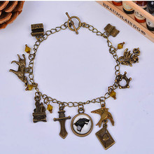 1pc vintage european charms hand chains antique bronze pulseira arrow crown Game of Thrones bracelet crystal bangle bracelete(China (Mainland))