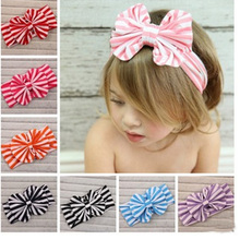 1pc Cute Baby Kids Striped Bow Knot Toddler Hair Band Elastic Headband Headwear Head Accessories 7 Colors