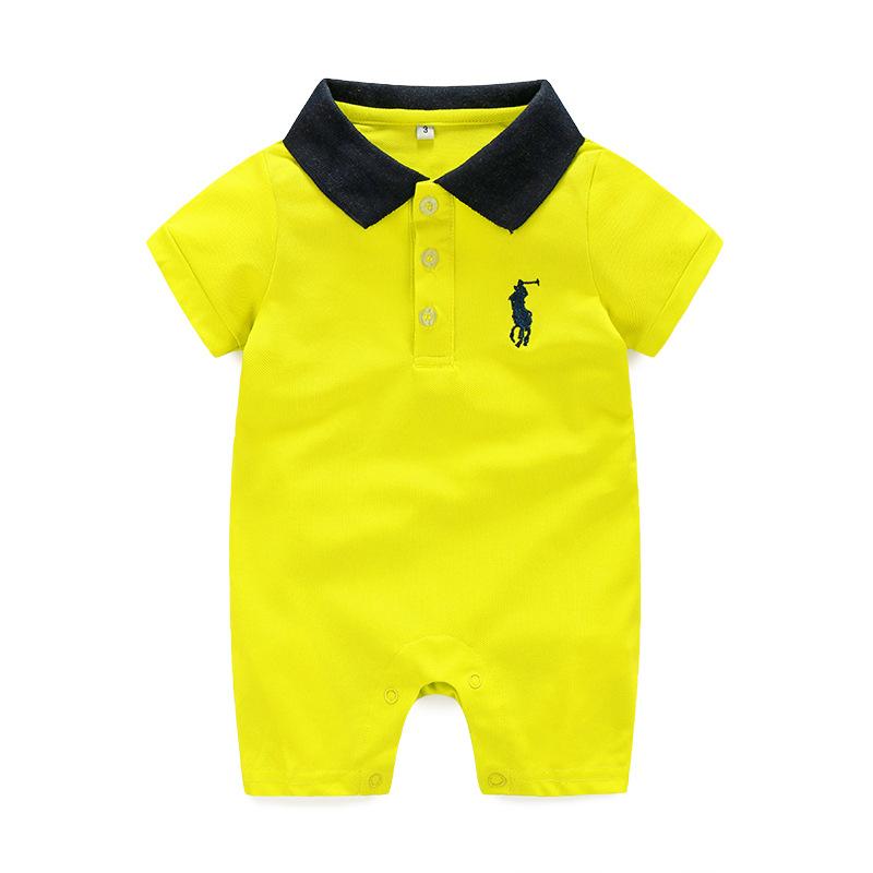 2016 solid polo baby baby boy&girl overalls short carter baby boy kikikid Next Cross romper baby turn down collar t shirt comb(China (Mainland))