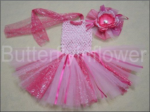 1layer twilight crochet tutu dress & matching hair clip Becautiful girl flowers 48pcs/lot(China (Mainland))