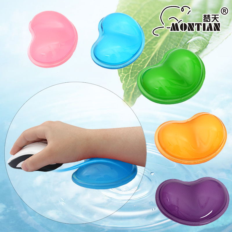 Accept custom 2015 fashion design heart transparent silica gel wrist support pad wrist rest mouse pad girl's gifts free shipping(China (Mainland))
