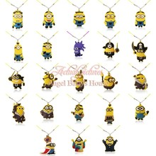Novelty 20PCS Kawaii Despicable minions PVC 2D Pendant Necklaces Rope Chain Chokers Necklacekids Gift Travel Accessories(China (Mainland))