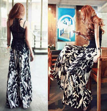 FD2434 new  Women's Vintage Printing Casual Wide Leg Long Pants Palazzo Cotton Trouse(China (Mainland))