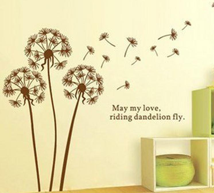 Freeshipping Dandelion Wall Sticker for wall decoration Modern Art stikers for kids living room home PVC Home Decor Sticker(China (Mainland))