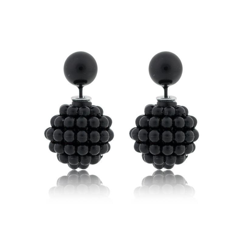 Fashion Paragraph Hot Selling Earrings 2015 Double Side Big Pearl Stud Matte Shining Women ZX-08 - CHEN XI JEWELRY store