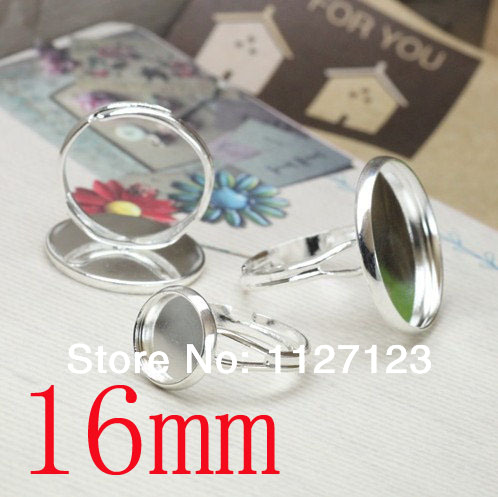 free shipping!!!!!100Pcs 16mm Silver plated bezel ring blanks with a cutout band, lead, Adjustable backs.(China (Mainland))