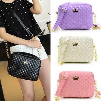 2015 Women Bag Fashion Women Messenger Bags Rivet Chain Shoulder Bag High Quality PU Leather Crossbody N0310