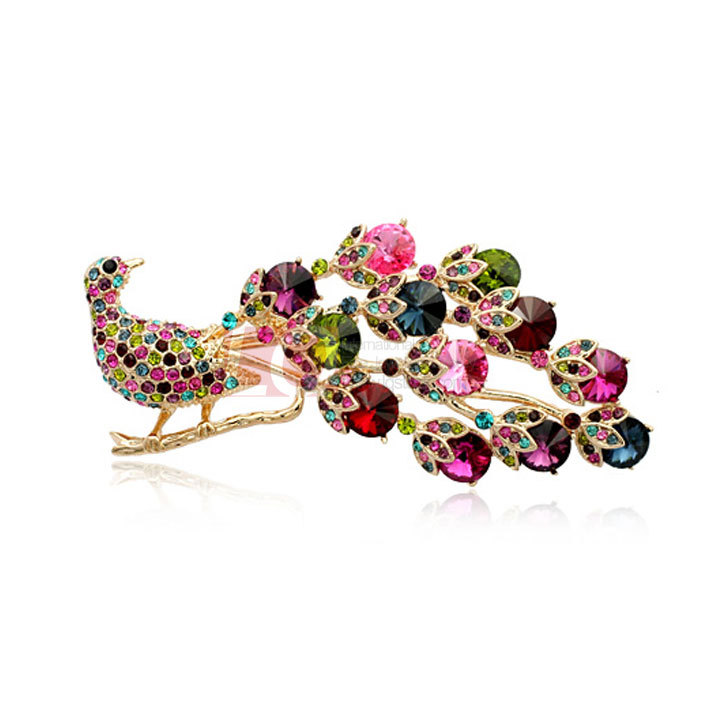 LQ Fashion Jewelry Rhinestone Peacock Brooches 18K Gold overlay and Top Quality Austrian Colorful Crystal Brooch gift for lady(China (Mainland))