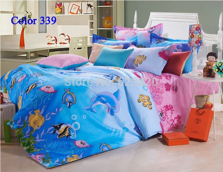 Cartoon animal blue sea with dolphin and fish bedding set for Fishing bedding sets