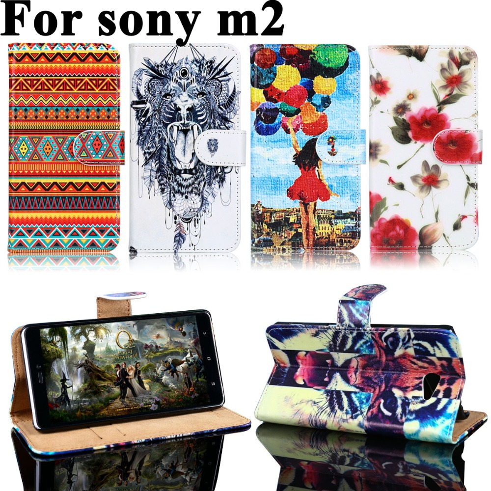 Luxury Painted PU Leather Cases Sony Xperia M2 S50H D2303 D2305 D2306 dual D2302 4.8 inch Cell Phone Cases Shell Skin Cover