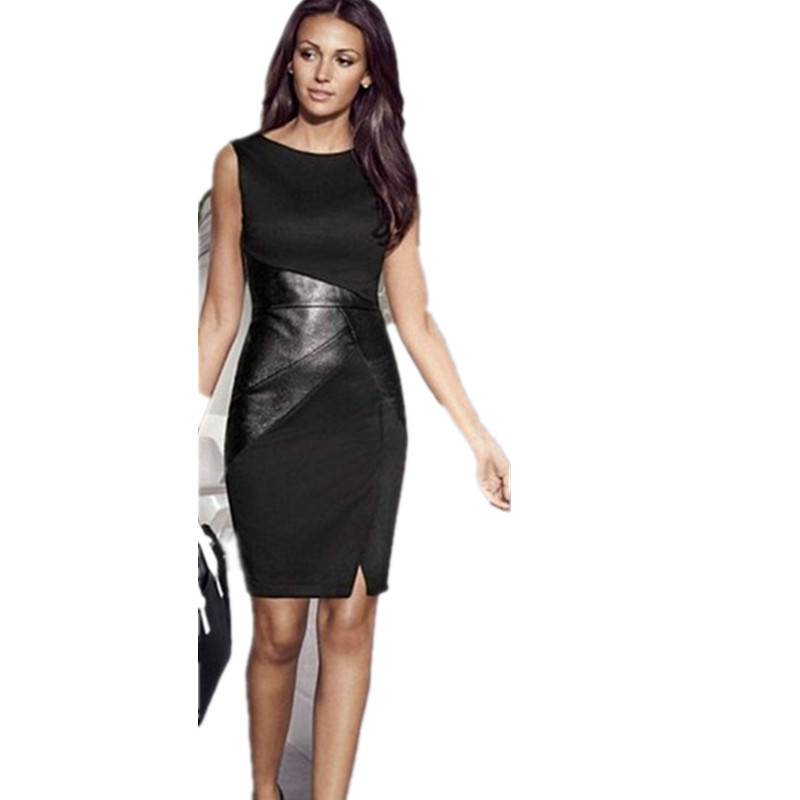 Women Dress Casual Summer Party Dress Sexy Patchwork Leather Sheath Bodycon Pencil OL Sleeveless Dresses Office Wear(China (Mainland))