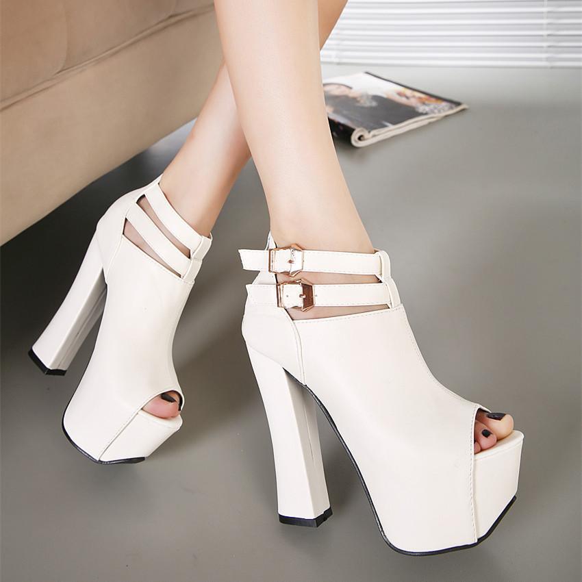 2016 Spring Korean Style Women Platform shoes With High Heels Pumps Peep Toe White/black sexy women Shoes high heel YH920(China (Mainland))