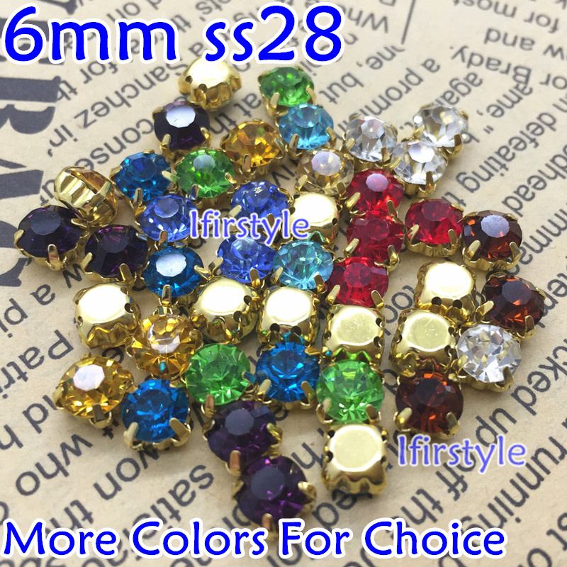 150pcs 6mm Sew on Rhinestones High quality Glass Chatons With Gold Claw Setting ss28 sewing glass crystal stones Mix Colors(China (Mainland))