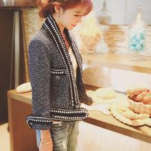 2016 spring Women luxury chain Jacket Tweed Crop metallic knit blazer designer cc Brand Top Quality beaded coat runway outerwear