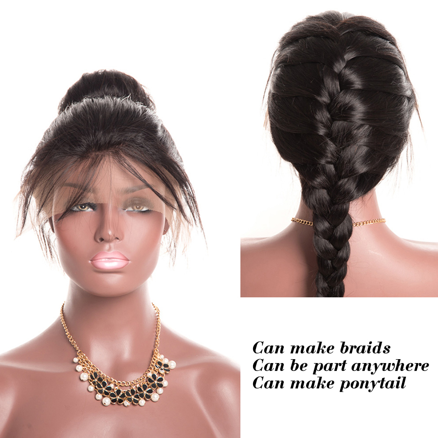 Wonder girl Pre Plucked Full Lace Human Hair Wigs For Black Women Brazilian Straight Lace Wig With Baby Hair Non Remy