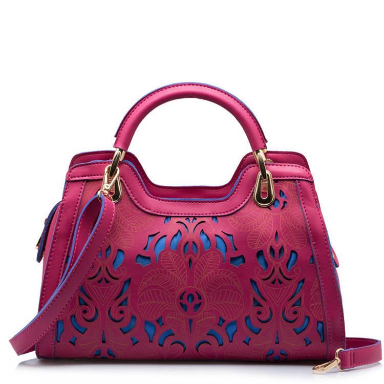 Luxury Ethnic Handbags Women Imported Pu Leather Hollow Out Panelled Tote Crossbody Bags Bolsa Feminina Bolsas de Hombro XA365A