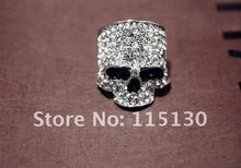 Vintage Europe a silver colored Simulated Diamond skull rings for men Rock Punk Gold Ring Fashion