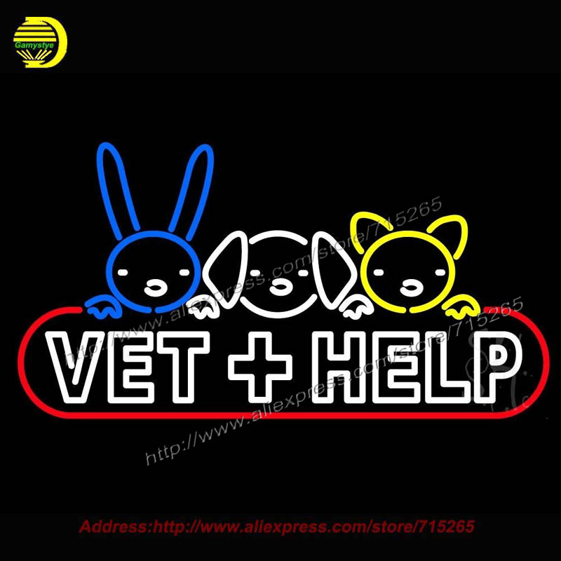 Vet Help Outdoor Neon Sign Handcrafted Bulb GlassTube Club Decorate sign Store Display Tube Glass Neon Art Signs bud light 20x37(China (Mainland))