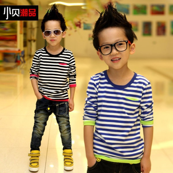 Autumn-Spring New Kids Long Sleeve T Shirts Black, Blue&amp;White Striped Boys Casual T-shirt With Breast Pocket Children Tops<br><br>Aliexpress
