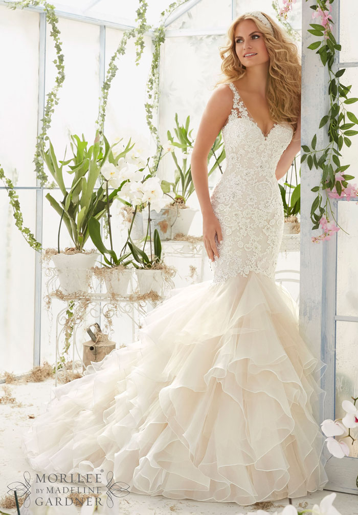 V Neck Lace Wedding Gowns - Expensive Wedding Dresses Online