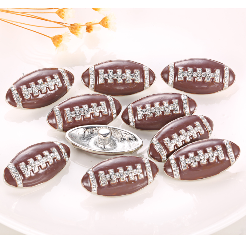 10pcs/lot New football Snap Button Charms Jewelry 18MM American Football Buttons Vintage Crystal DIY Snaps For Snap Bracelet(China (Mainland))