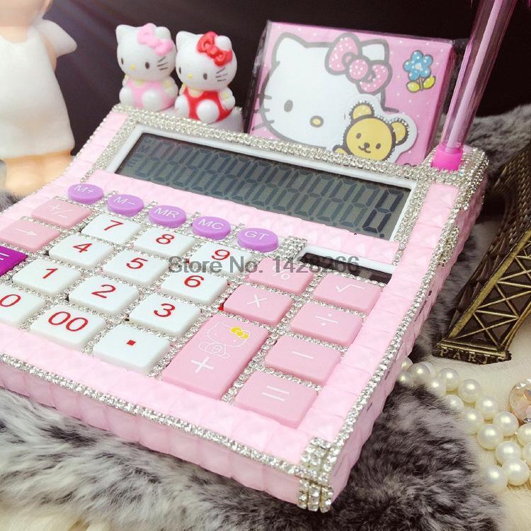 2016 New 12 digit pink cute hello kitty calculator no voice cute calculator Kawaii Calculator